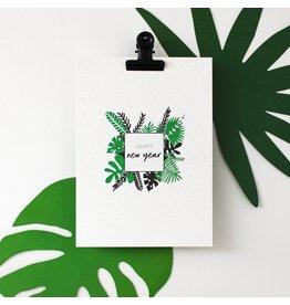 Hello August Postkaart - Happy New Year jungle