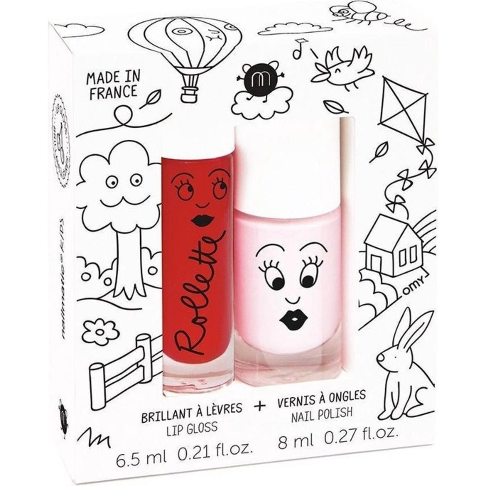 Nagellak set Kids Cottage lip gloss kers en nagellak bella roze