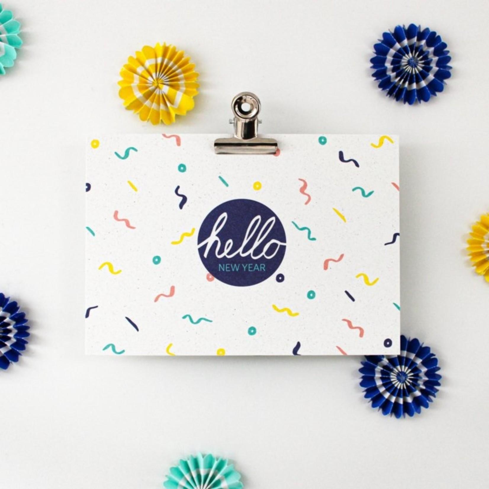 Postkaart - Hello New Year confetti