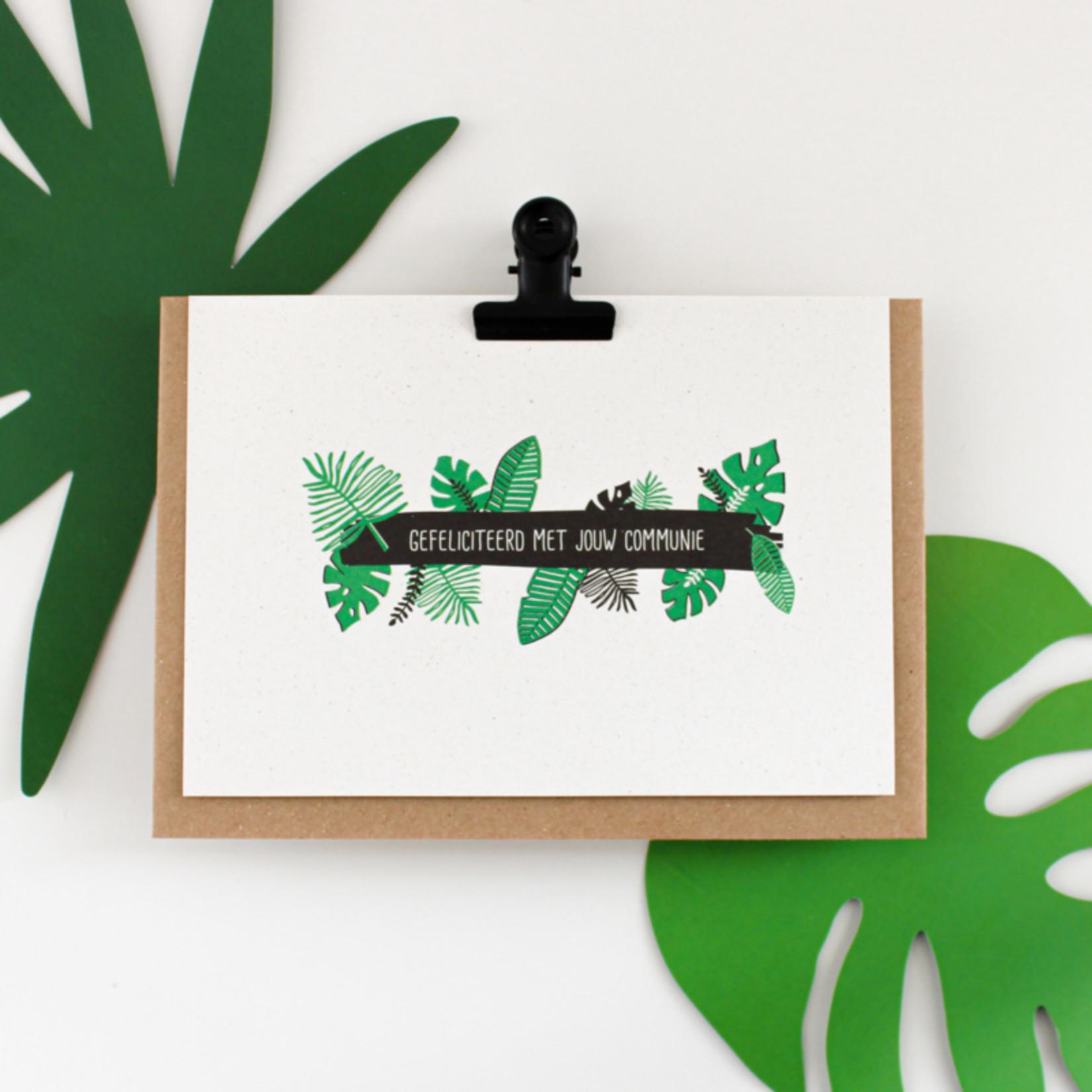 Postkaart - Gefeliciteerd met je communie jungle