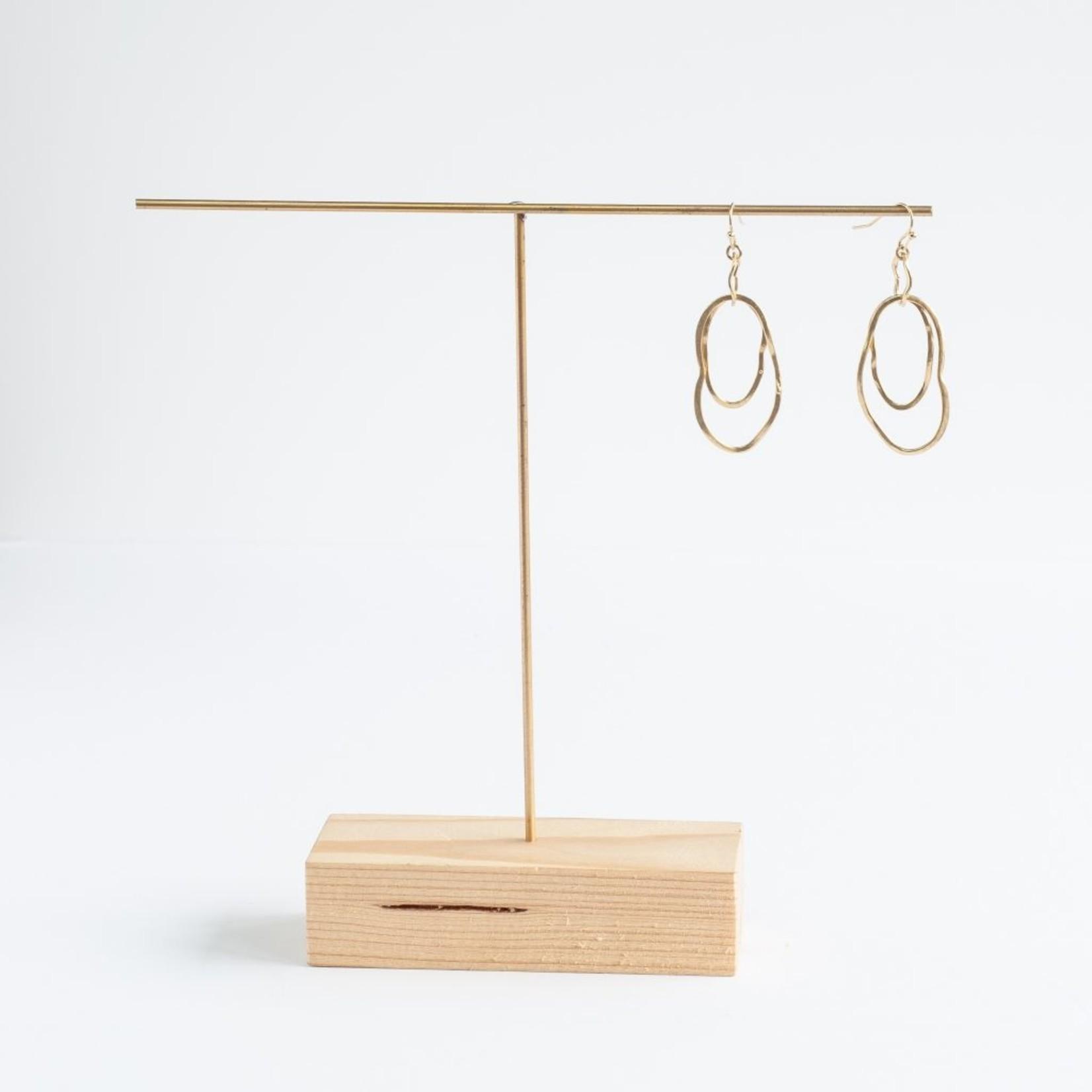 Inimini Homemade Brass organic link earrings