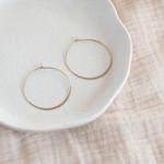 Inimini Homemade Brass minimal hoops thin round