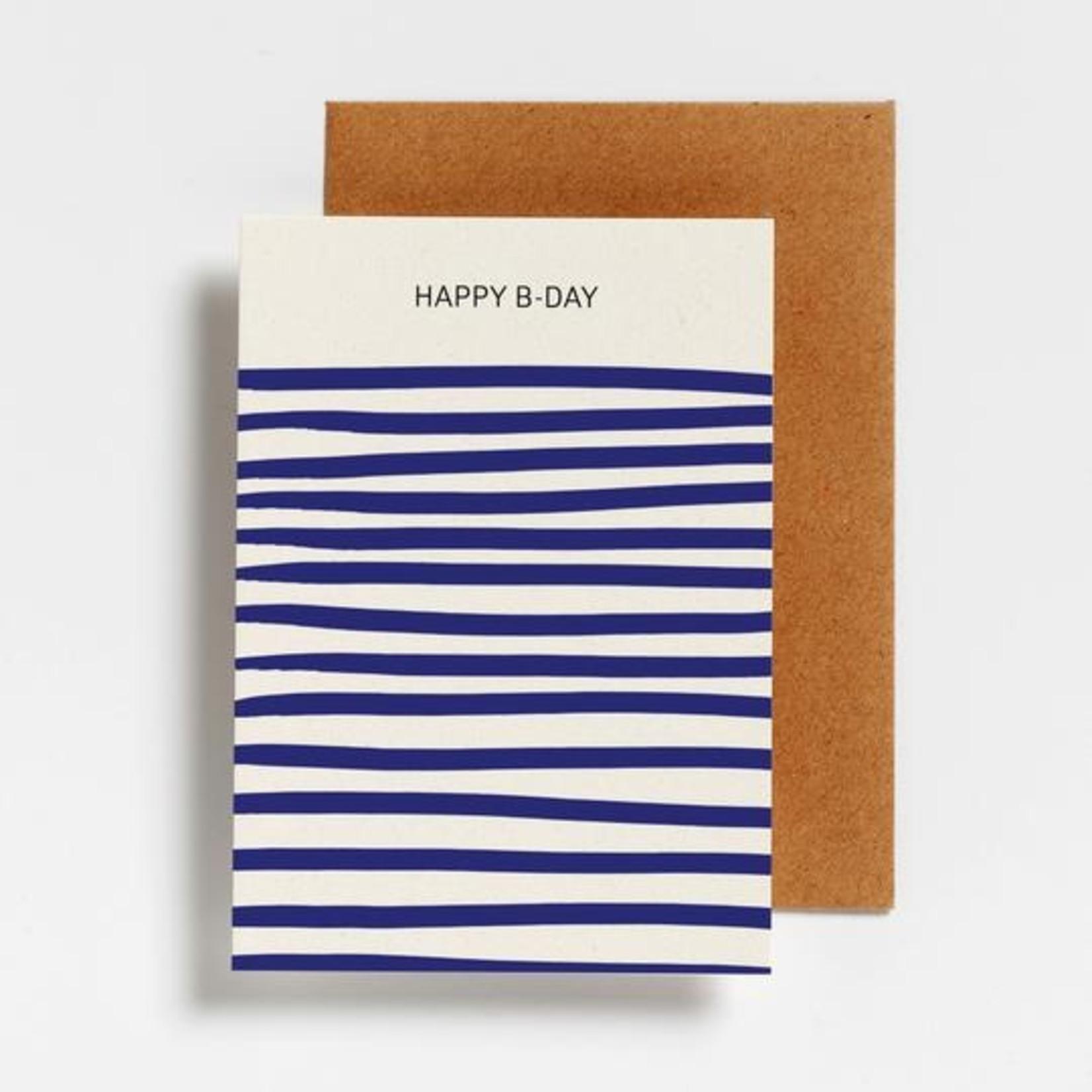 Postkaart - happy birthday streepjes