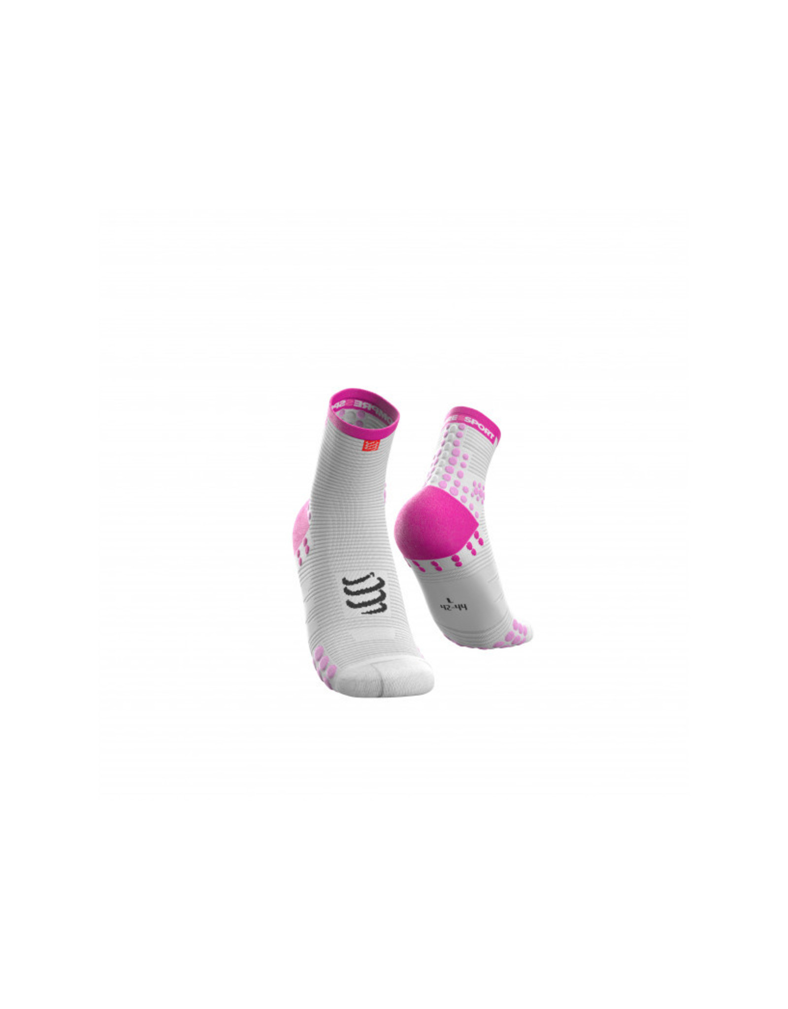 Compressport Pro Racing Socks V3.0 Run High Hardloopsokken Hoog - Wit/Roze