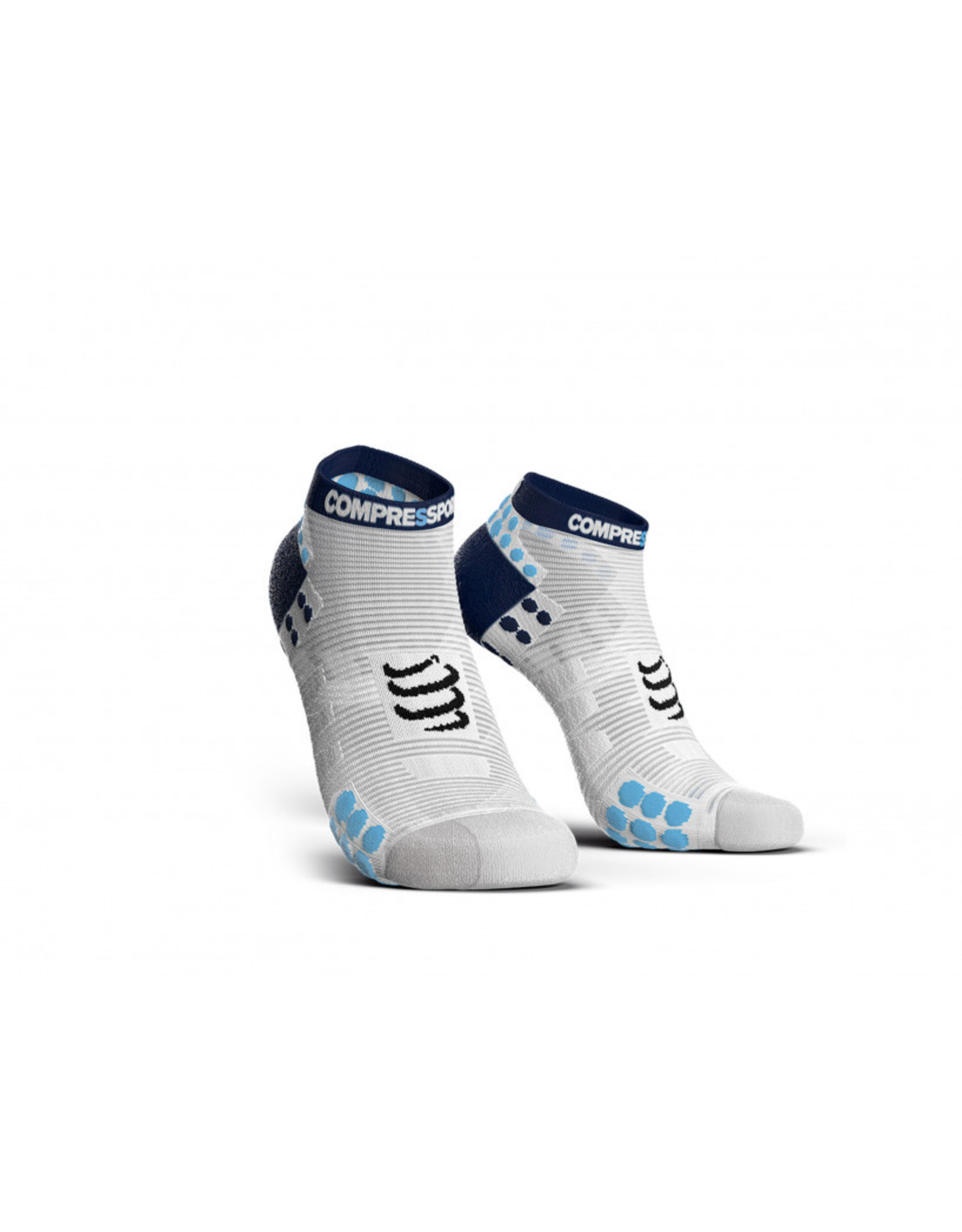Compressport Pro Racing Socks V3.0 Run Low Chaussettes De Running Bas - Blanc/Bleu