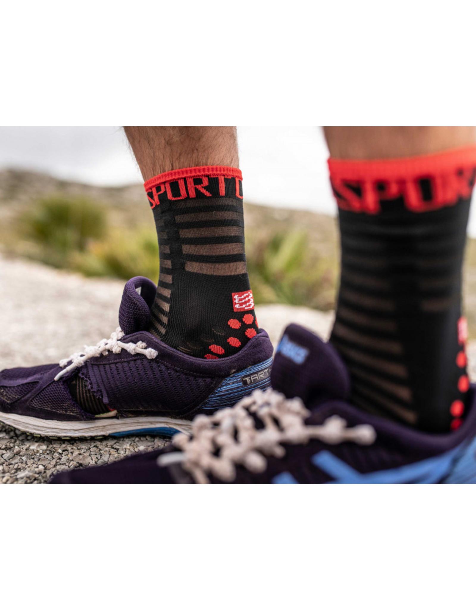 Compressport Pro Racing Socks V3.0 Ultralight Run High Hardloopsokken - Zwart/Rood