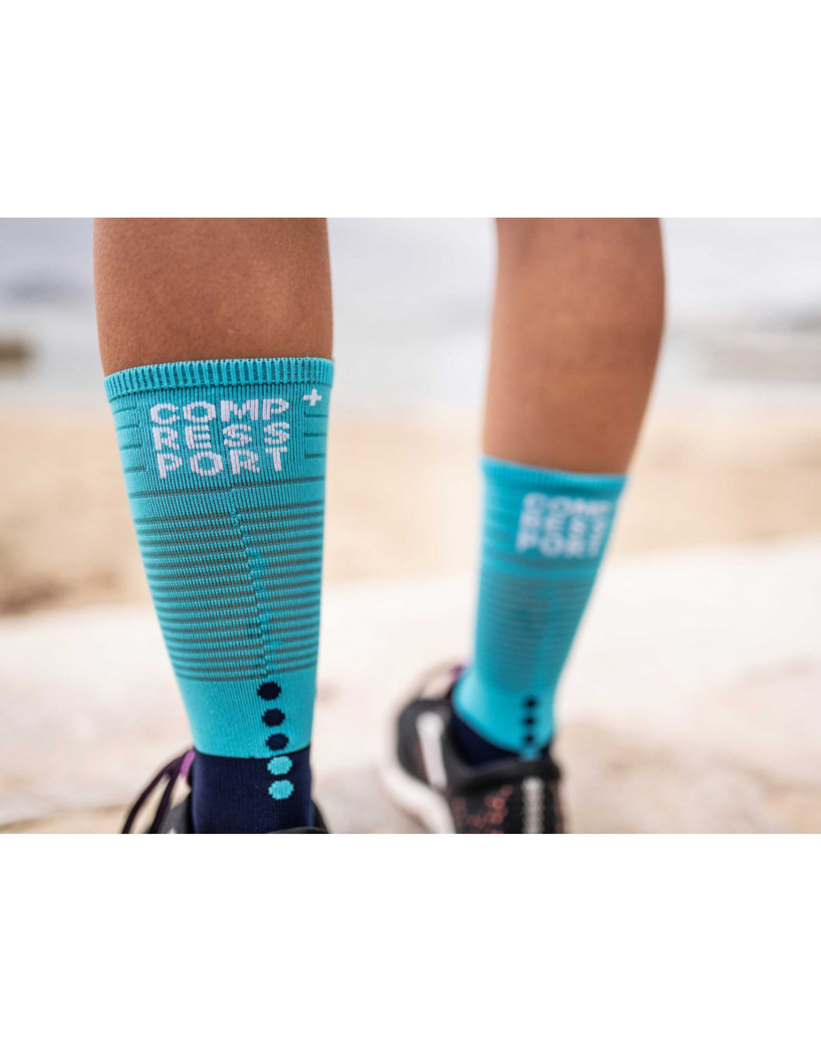 Compressport Mid Compression Socks Chaussettes De Running - Bleu/Bleu Clair