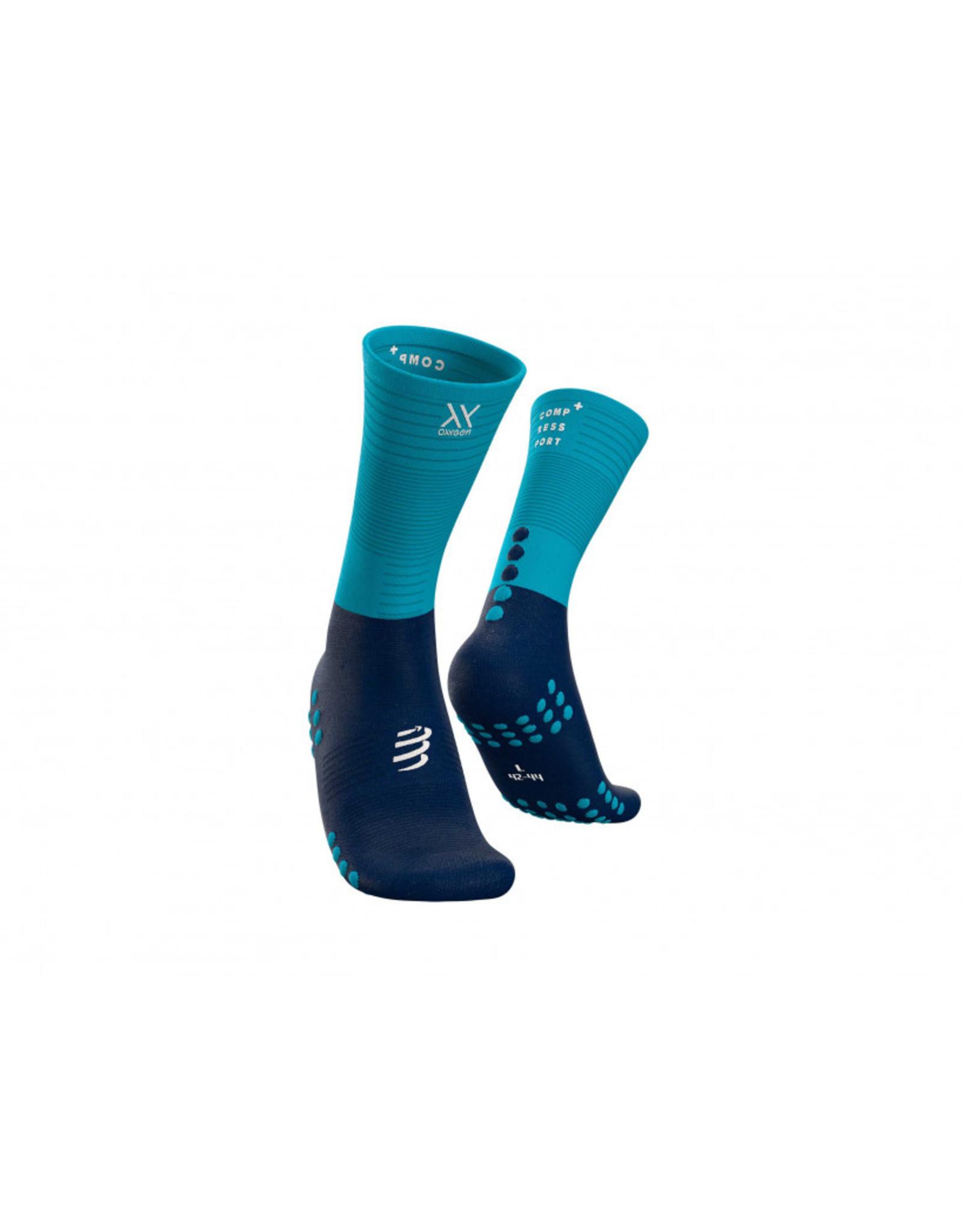 Compressport Mid Compression Socks Hardloopsokken - Blauw/Lichtblauw