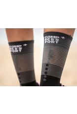 Compressport Mid Compression Socks Hardloopsokken - Zwart/Grijs