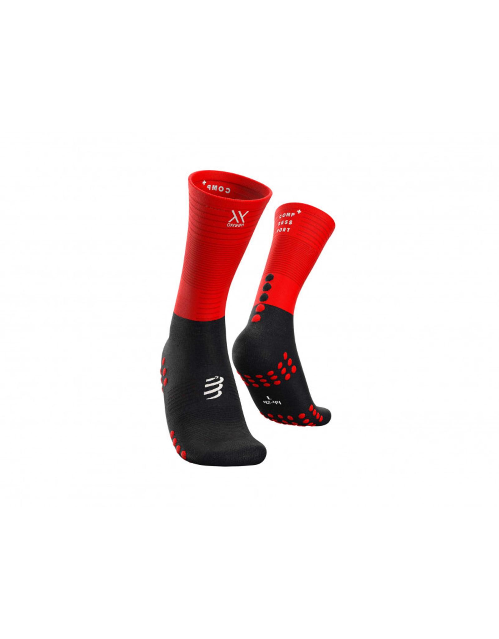 Compressport Mid Compression Socks Hardloopsokken - Zwart/Rood