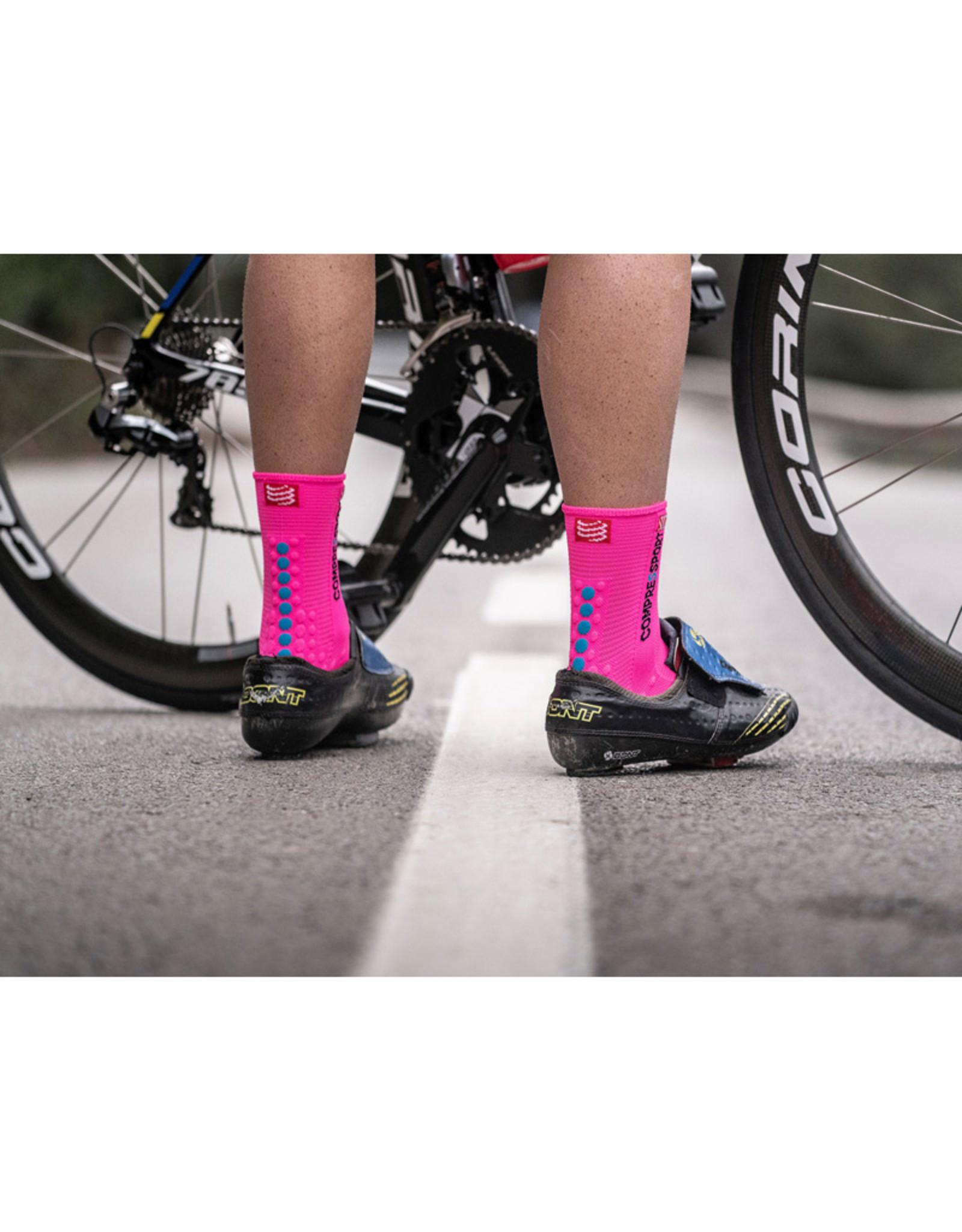 Compressport Pro Racing Socks V3.0 Bike Fietssokken - Roze