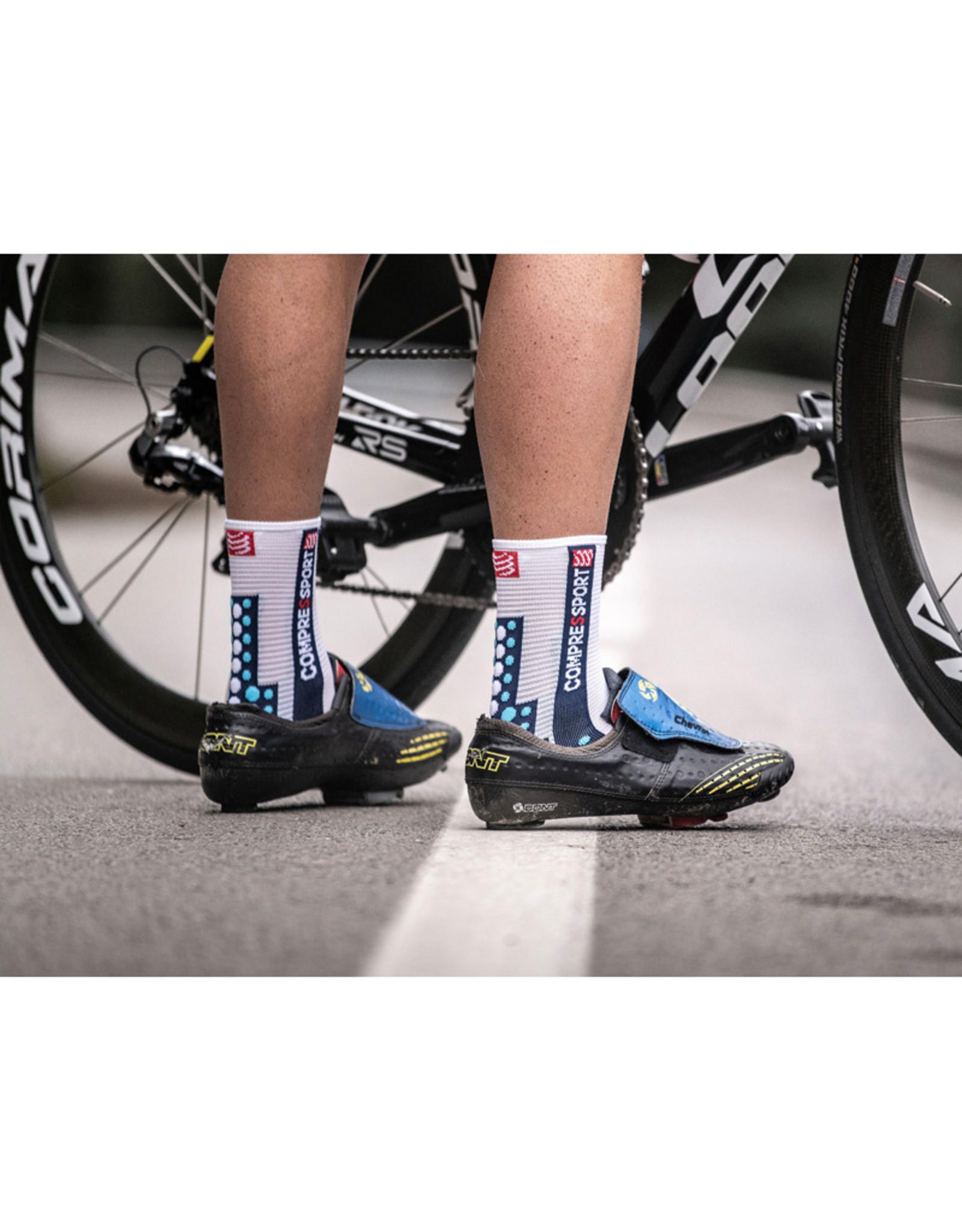 Compressport Pro Racing Socks V3.0 Bike Fietssokken - Wit/Blauw