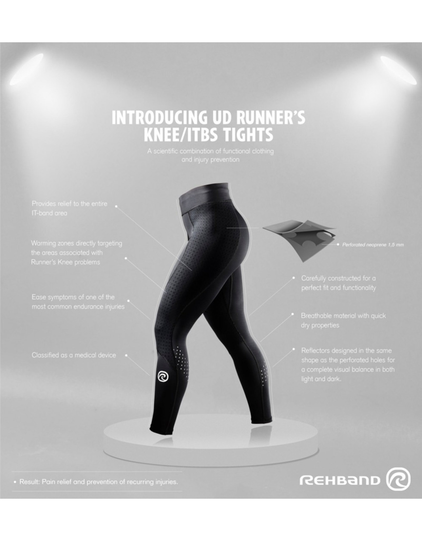Rehband Ud Runners Knee/Itbs Tight - Zwart