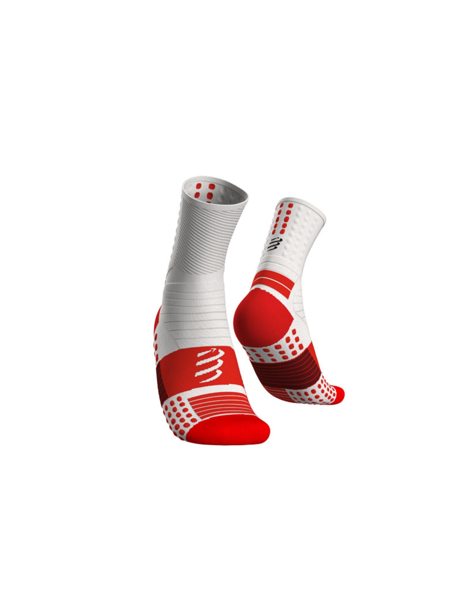 Compressport Pro Marathon Socks Hardloopsokken Hoog - Wit