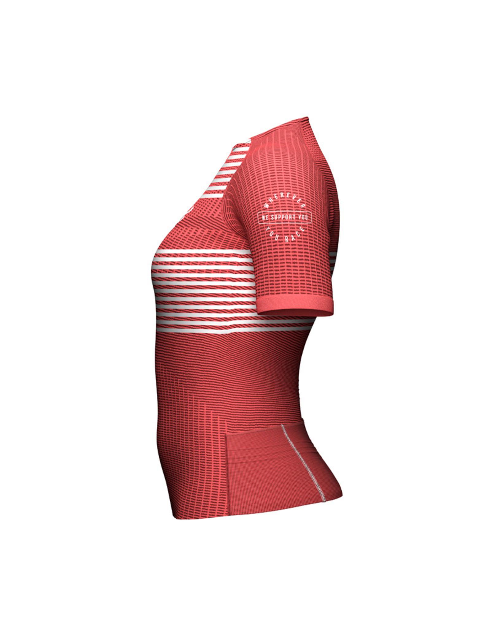 Compressport Tri Postural SS Top Triathlon Shirt - Roze