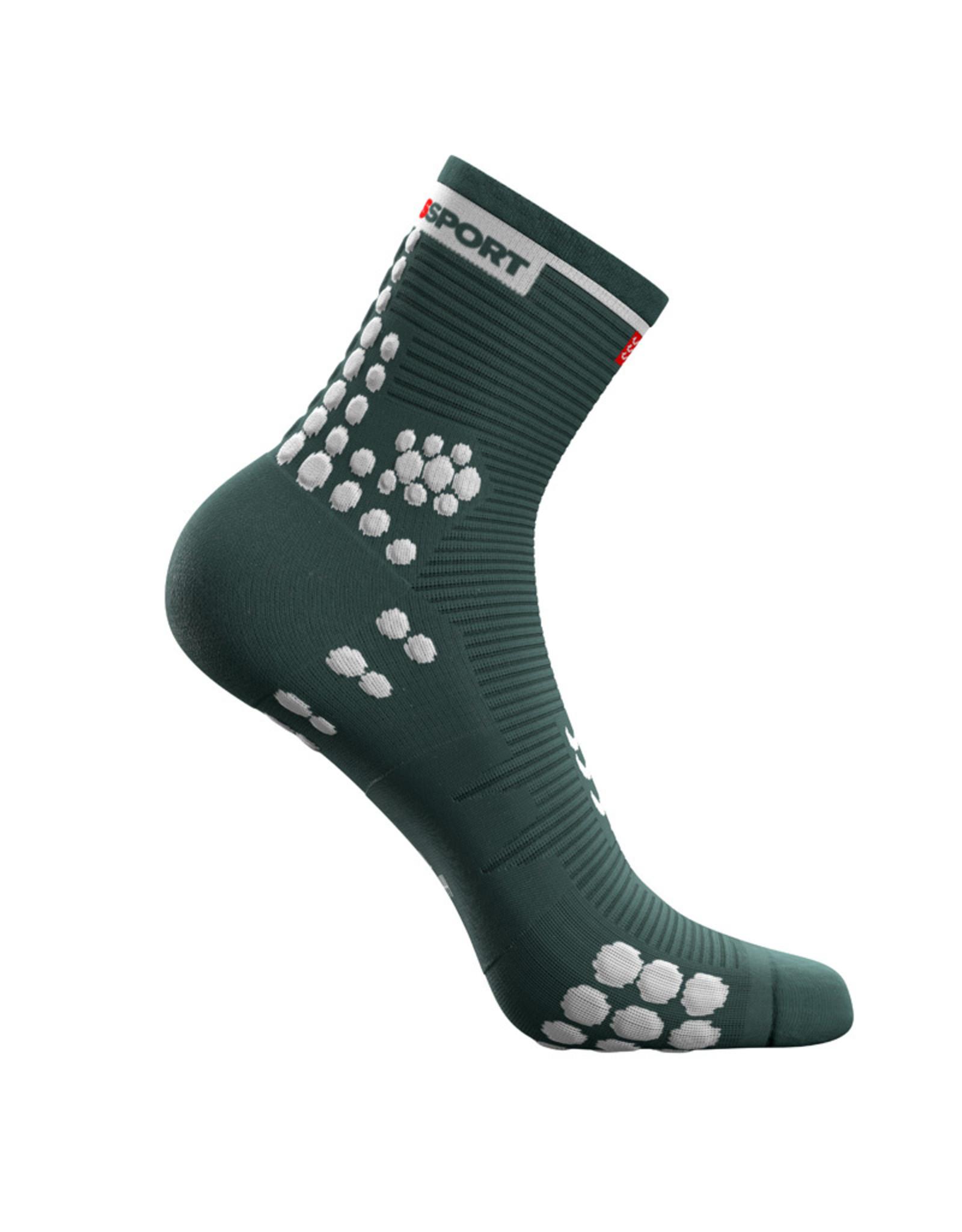 Compressport Pro Racing Socks v3.0 Run High  Vert/Blanc Chaussettes de course High