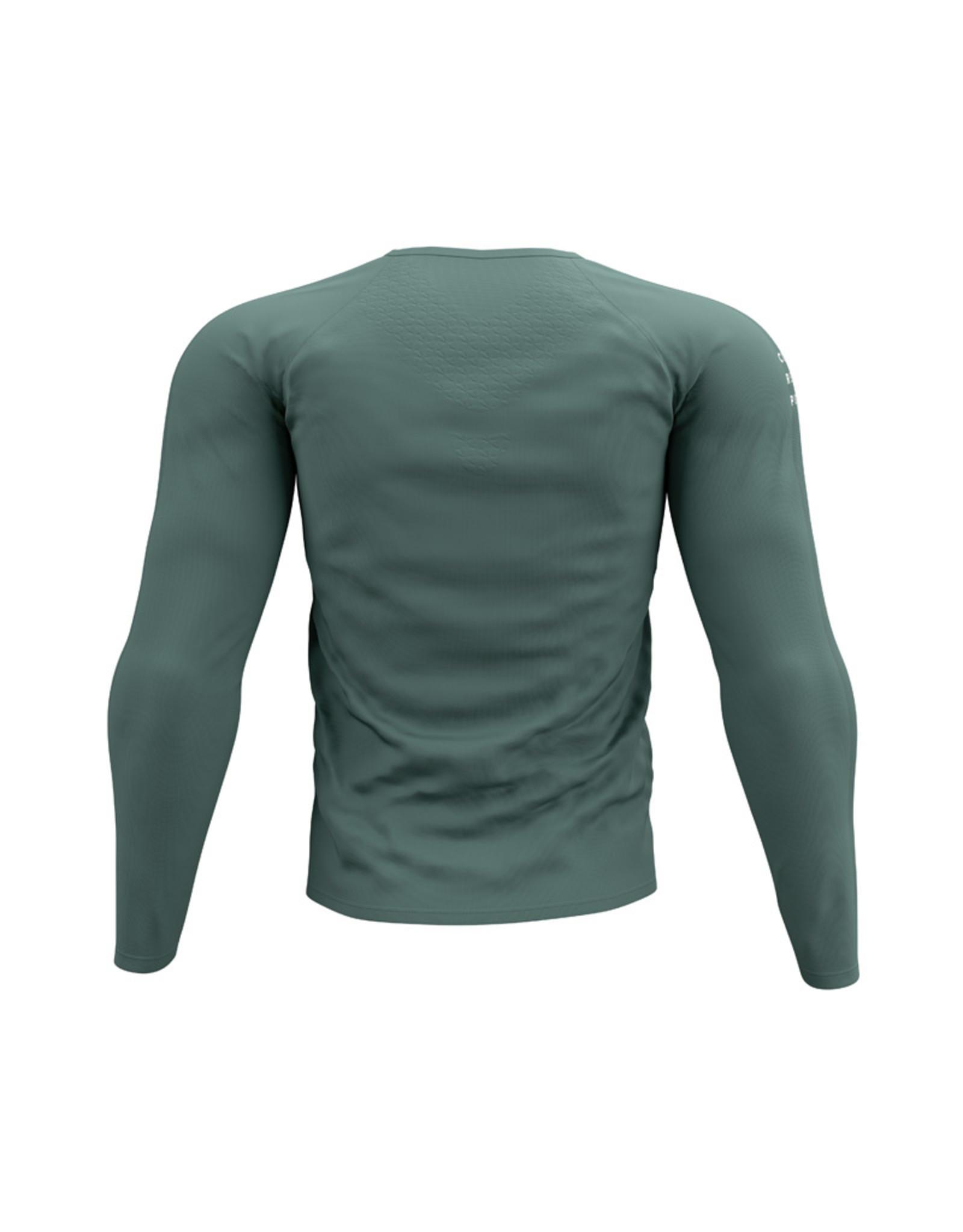 Compressport Training Tshirt LS  Groen Hardloopshirt Lange Mouw