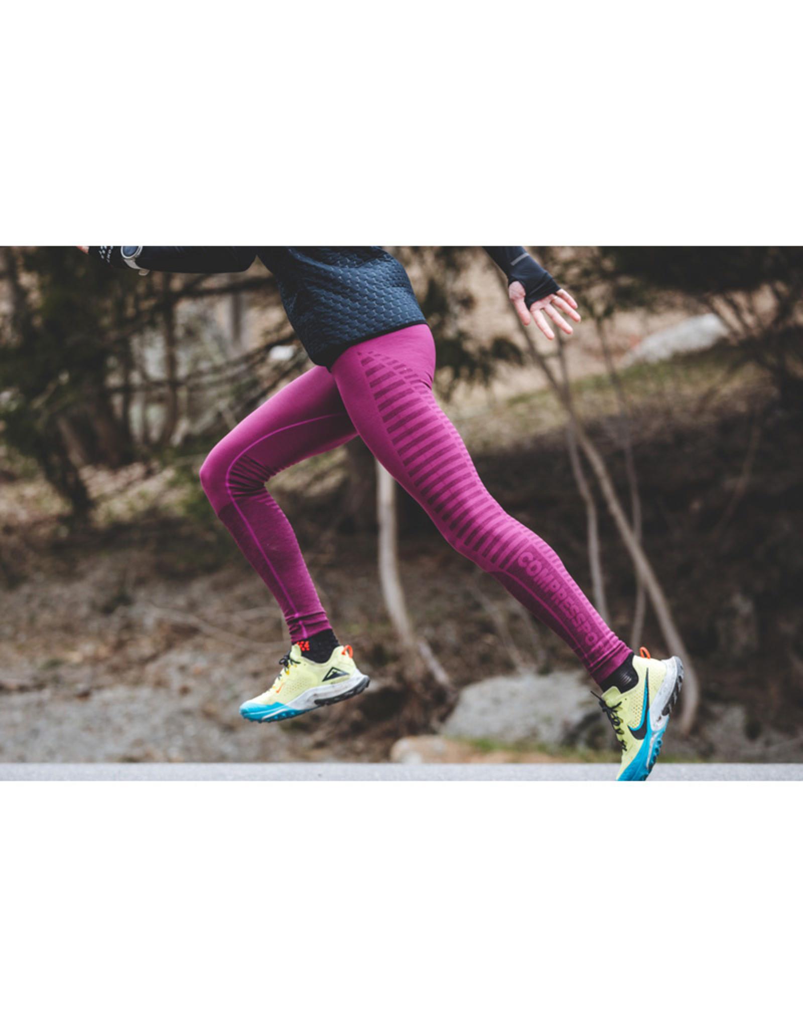 Compressport Winter Run Legging Roze Hardloopbroek