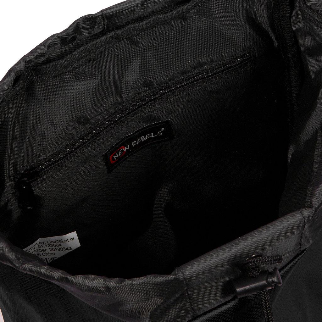 New Rebels Waxed Flapover Backpack | Rugtas Black