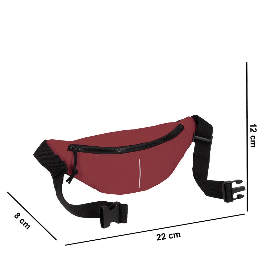 New Rebels®  - Mart - Water Repellent -  Waistbag - 22x8x12cm - Burgundy