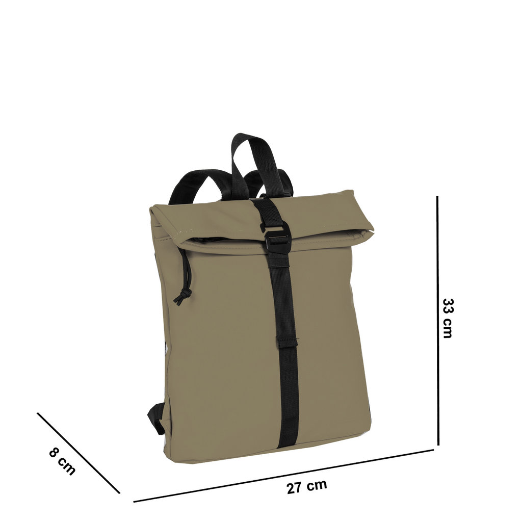 New-Rebels® Mart - Roll-Top - Backpack - Taupe - Small II - 27x8x33cm - Backpack
