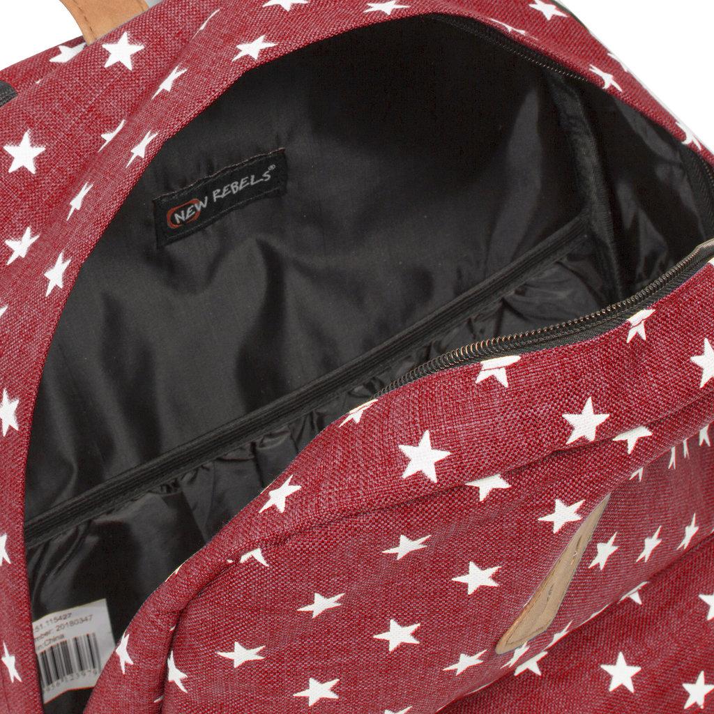 New-Rebels ® Star Range BP - Rugzak - Rugtas - 16L - Polyester - Bordeaux met Sterren
