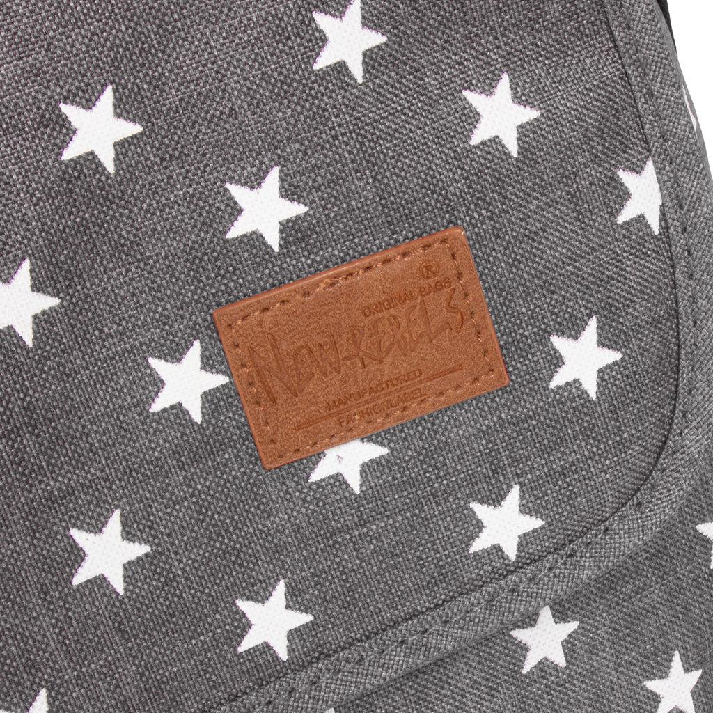 New Rebels®  Star26 - Medium Schoudertas  A5 - Crossbodytas met flap - with stars - Anthracite
