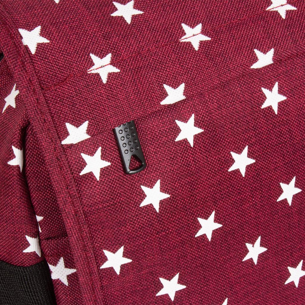 New Rebels®  Star26 - Medium Schoudertas  A4 - Crossbodytas met flap - with stars - Burgundy