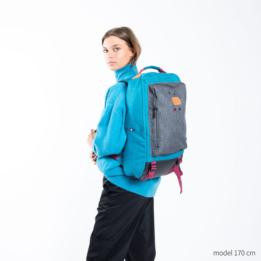 New-Rebels ® Wodz - Big Backpack - Petrol/Grey  II - 27x20x47cm - Rugtas - Rugzak