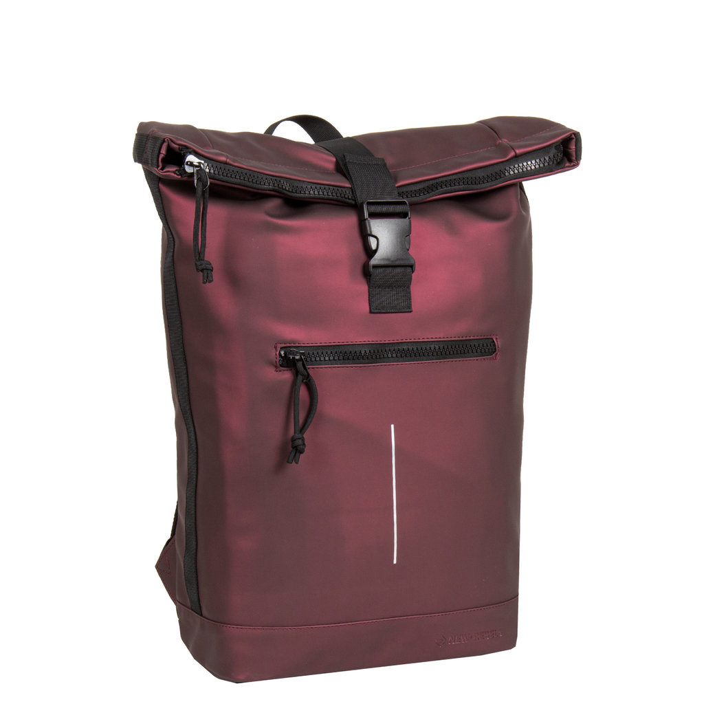 New-Rebels® Mart Roll-Top Backpack Waterafstotend  Metallic Burgundy  Large II | Rugtas | Rugzak