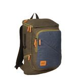 New-Rebels® - Karl - Laptoptas - Schooltas - Laptop vak - 21L - Nylon- Donkergroen- Blauw