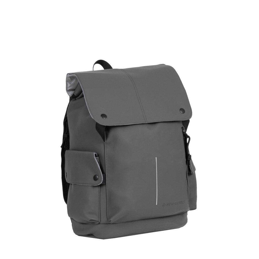 New-Rebels ® Mart PU Laptoptas -  Rugtas - 14 Liter - Grijs