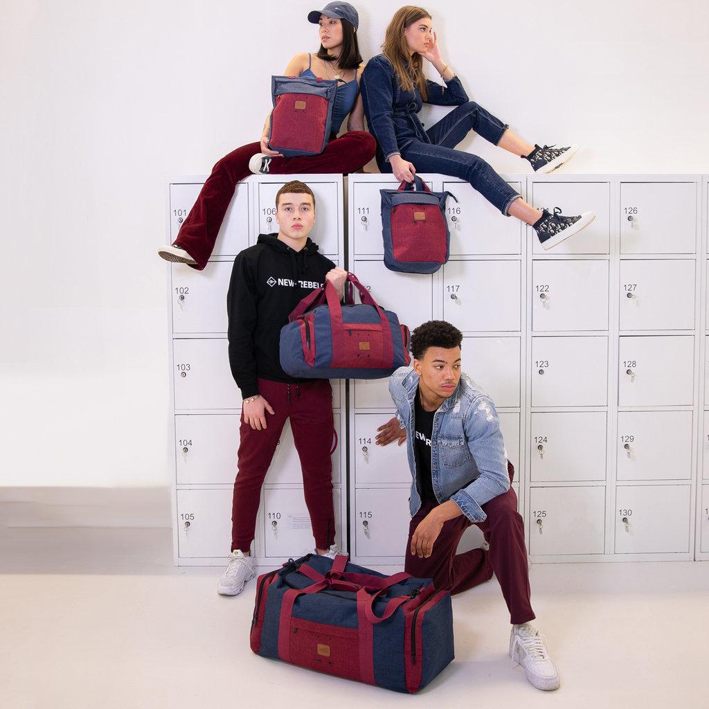 Wodz Sports Bag Navy/Burgundy Medium V | Weekendtas | Sporttas