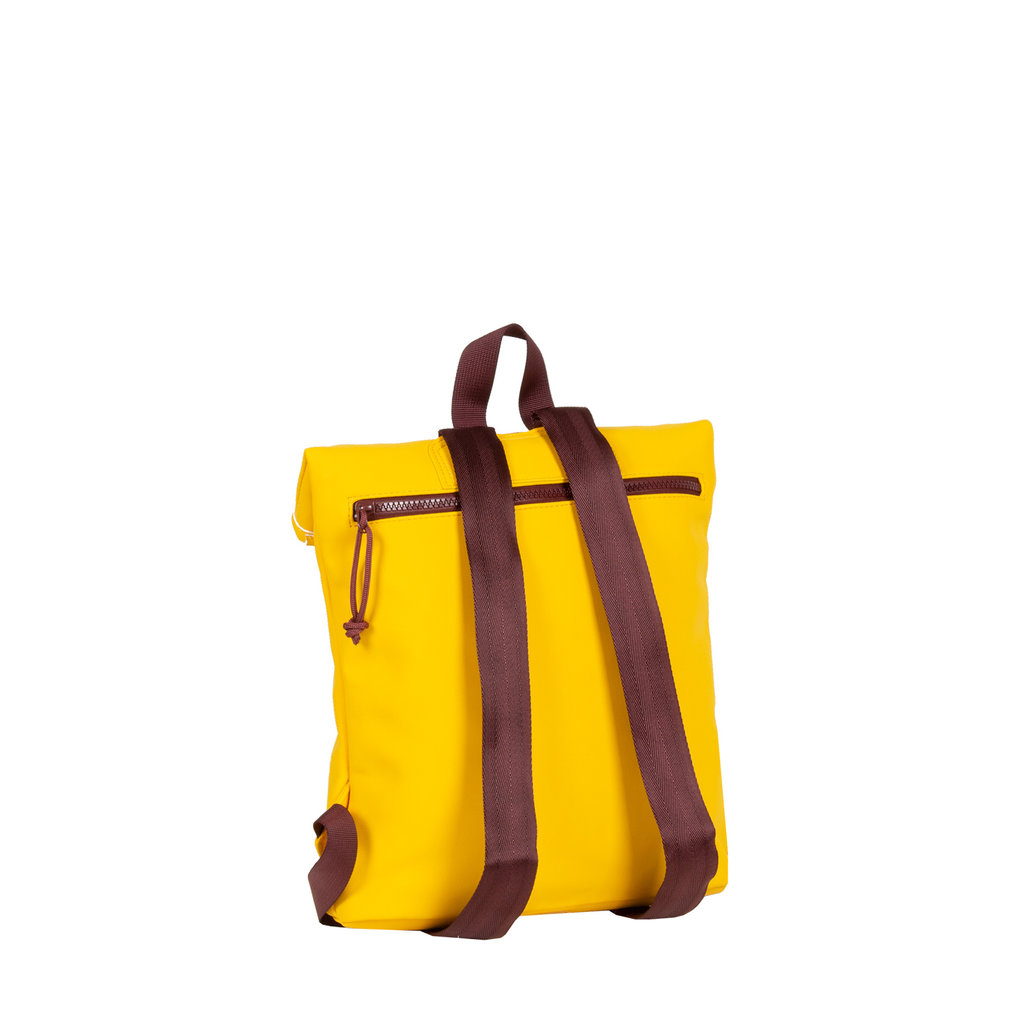 New-Rebels® Tim Roll-Top Backpack Small Yellow/Burgundy