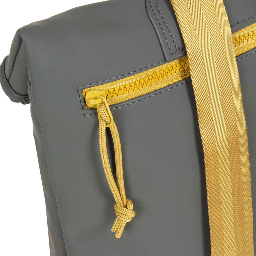 New-Rebels® Tim Roll-Top Backpack Small Anthracite/Yellow
