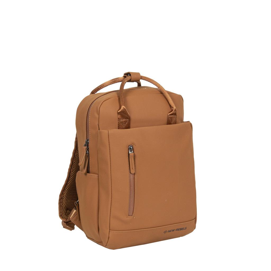 New-Rebels ® Harper - Backpack - Laptop compartiment - 9 Liter - 28x8x38 - Cognac