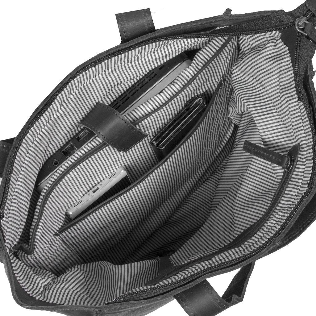 Justified Nynke - Leren Shopper Tas - Laptoptas 15,6 Inch - Zwart