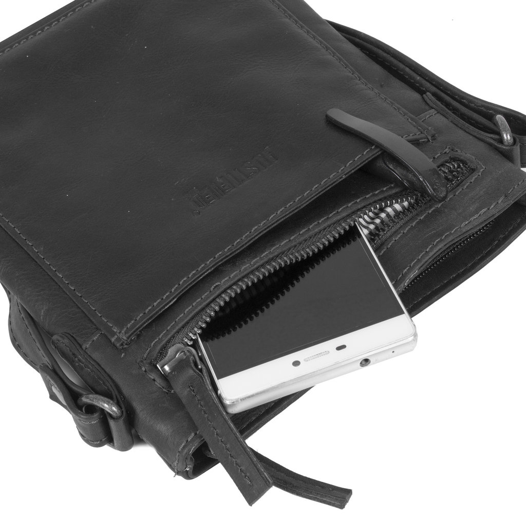 Justified Bags® Nynke Top Zip Schoudertas Zwart