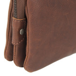 Justified Bags®  Nynke 3 compartimenten 1 Top Zip Shoulderbag Brown