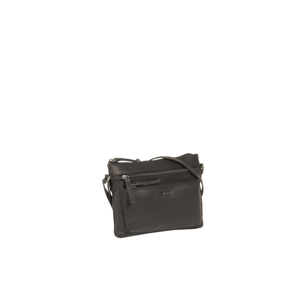 Justified Bags®  Nynke Medium Front Pocket Shoulderbag Black