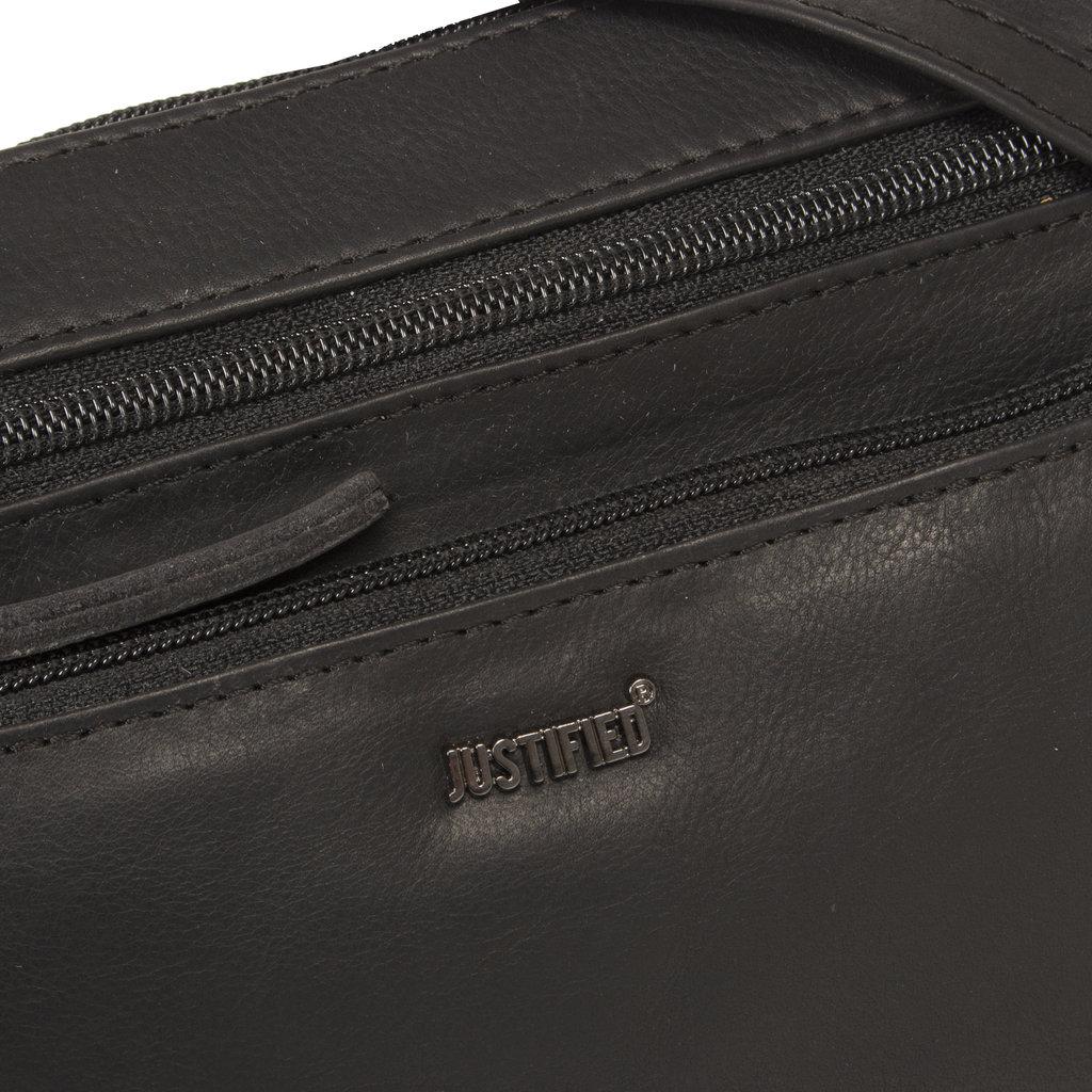 Justified Bags®  Nynke Medium Front Pocket Schoudertas Zwart