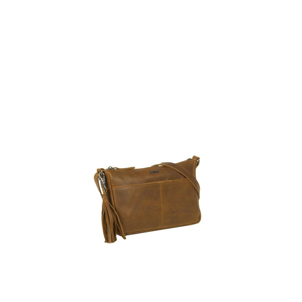 Justified Bags® Nynke Long Square Schoudertas  Cognac