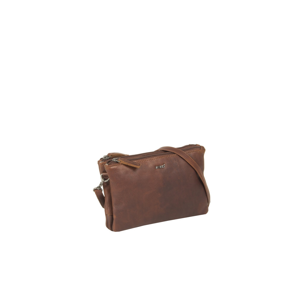 Justified Bags® Nynke Tripple Top Zip Schoudertas Bruin