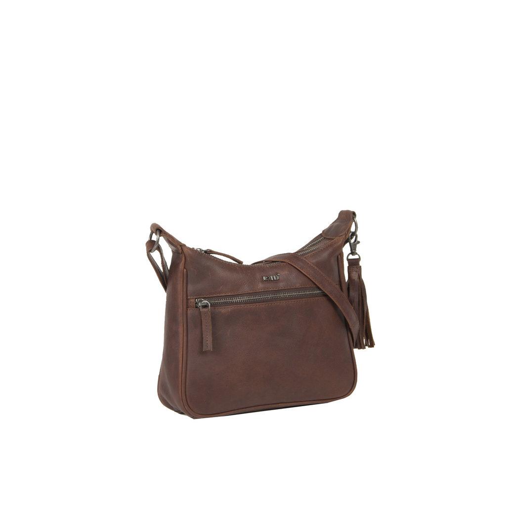 Justified Bags® Nynke Double Top Zip Schoudertas Bruin