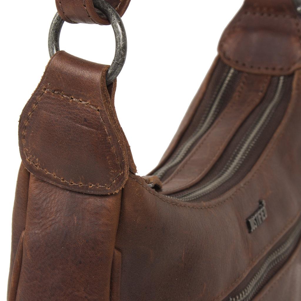 Justified Bags® Nynke Double Top Zip Shoulderbag Brown XI