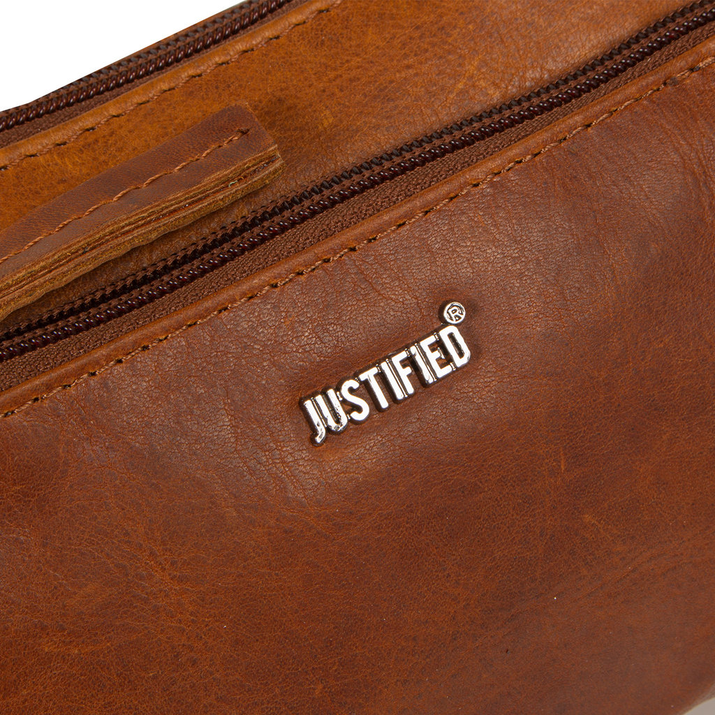 Justified Bags® Nynke Small Front Pocket Shoulderbag Cognac