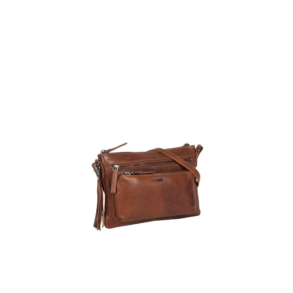 Justified Bags®  Nynke Medium Front Pocket Shoulderbag Brown