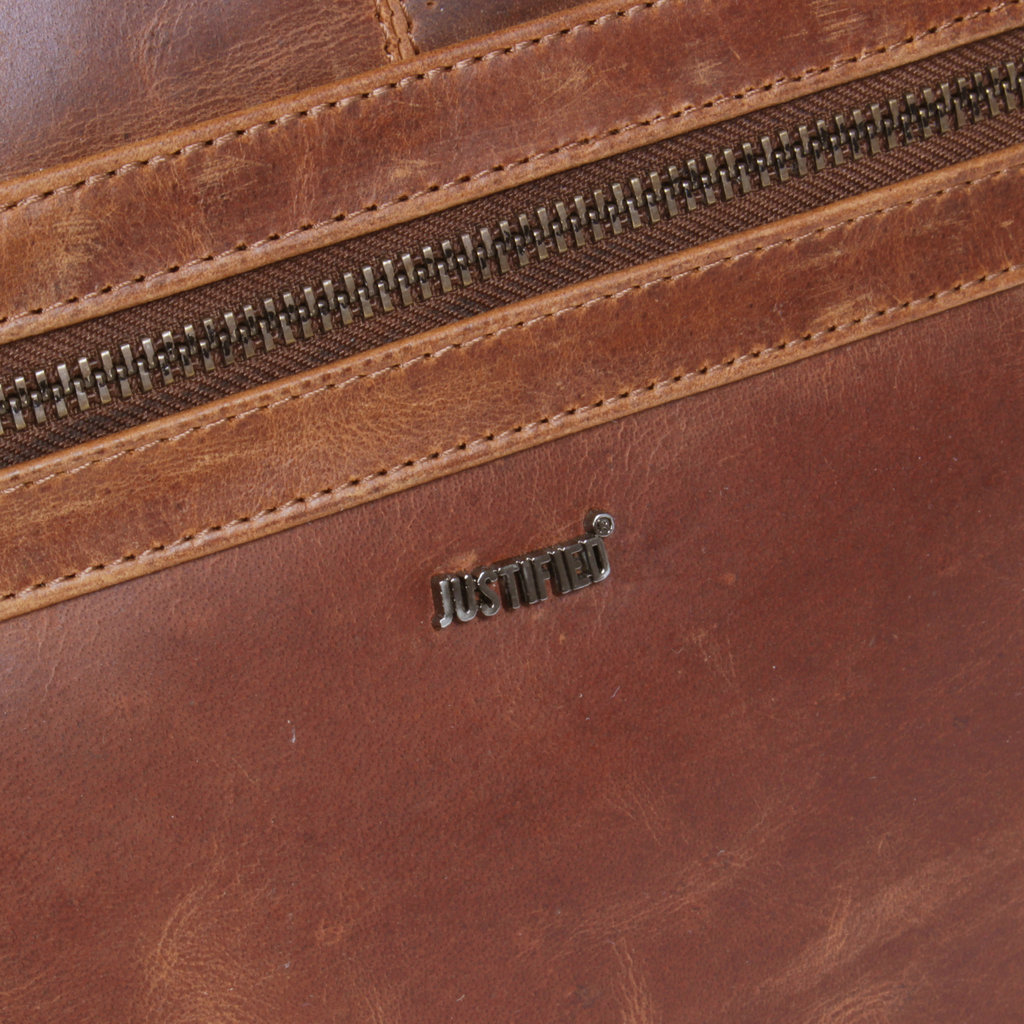 Justified Bags® - Max  Weekender - Reistas - Weekendtas  - 43 L - Leer - Cognac