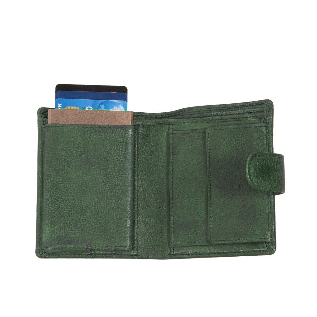 Kailash Leder creditcard holder d. green + coin pocket + box
