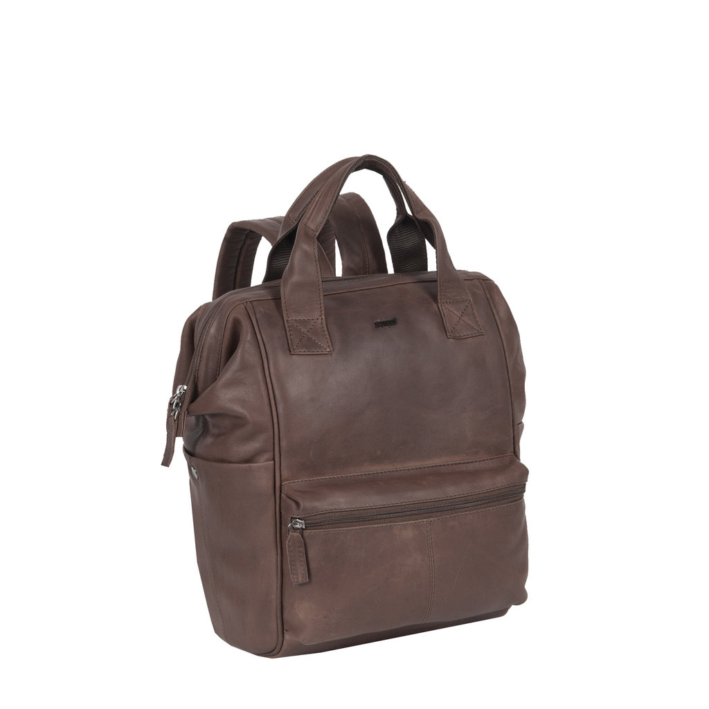 Yara City Lederen Backpack / Rugtas Bruin